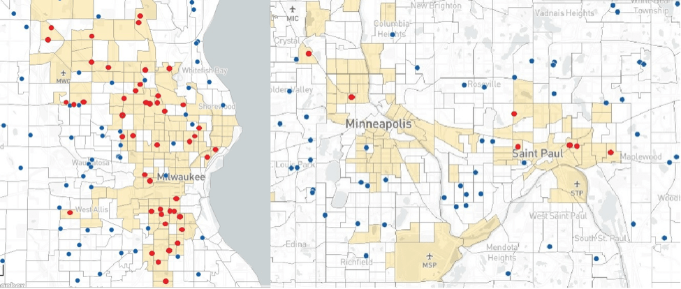 Milwaukee has private schools serving many types of neighborhoods, but the Twin Cities area has few private schools serving high-poverty charter school deserts.
