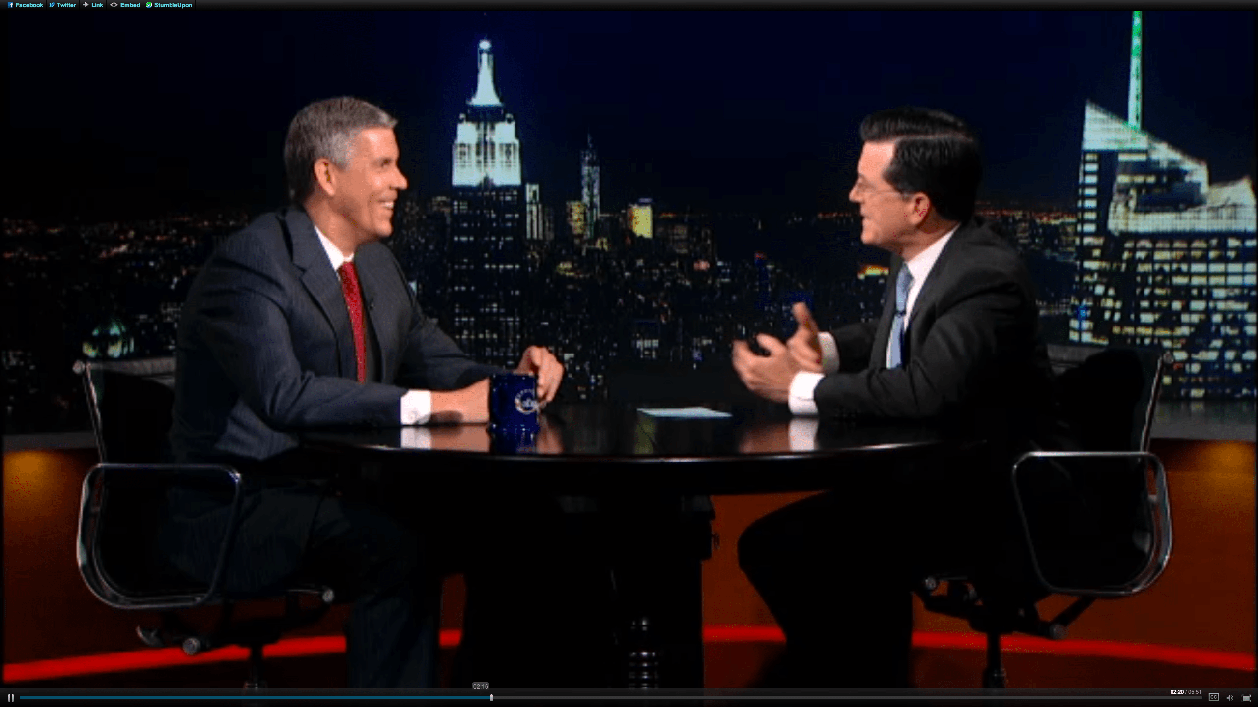 Arne Duncan on Colbert Report