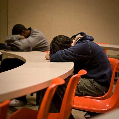 students asleep in class photo