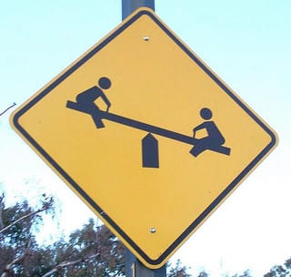watch out for children on see-saws